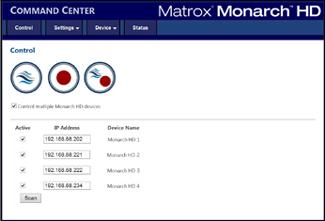 Matrox Monarch HD web-based user interface